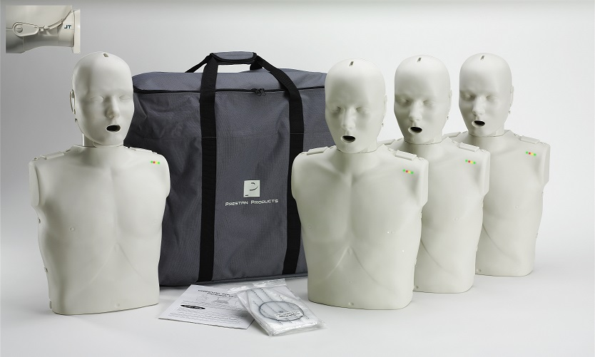 Prestan Professional Adult Jaw Thrust CPR-AED Training Manikins 4-Pack (with monitor)